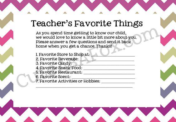 Cute As a Fox: Back to School Teacher Questionnaire