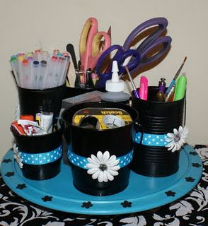 Crafty Caddy- I am so doing this for my new craft room but mine will be black with red and white
