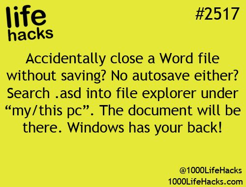 Wonder if this work didn't get a chance to save your word document Windows got your back