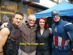 Stan Lee with a few of the avengers