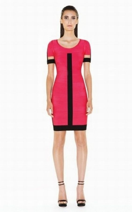 Herve Leger outlet Celeste Dark Colorblocked Bandage Dress red
