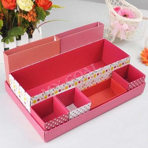 Diy desk storage box desktop makeup cosmetic container for Beauty table organiser