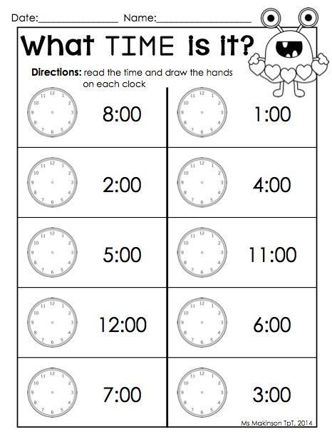 Worksheets Kindergarten Time Worksheets kindergarten literacy telling time and on pinterest february printable packet math by the hour valentines day