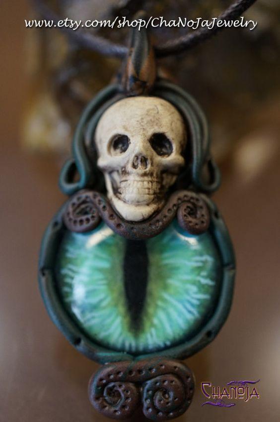 Devil's Eye 3 Pendant -bluegreen dragon eye polymer clay skull gothic OOAK steampunk fantasy mens jewelry punk warrior male power unisex by ChaNoJaJewelry