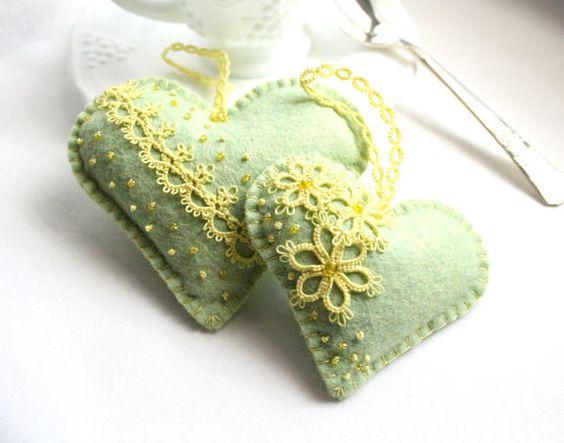 Herz grün gelb Tatting Lace Lavendel fühlte Beutel