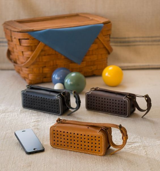 Leather Bluetooth Wireless Speaker / The Leather Bluetooth Wireless Speaker has been made with sheer excellence to serve both as an eye-catching beauty and as a music friendly device. http://thegadgetflow.com/portfolio/leather-bluetooth-wireless-speaker/