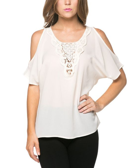 Look at this Cream Crochet Shoulder-Cutout Top on #zulily today!