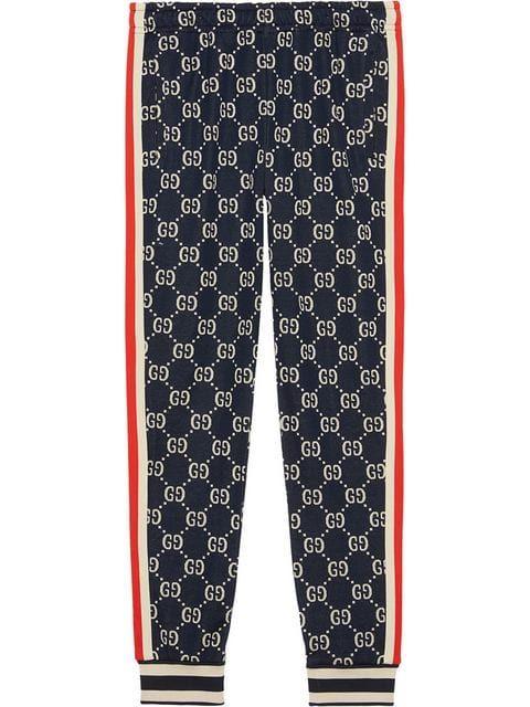Gucci Pantalones De Chandal Con Gg En Jacquard Farfetch Pantalones Gucci Pantalones De Chandal Sudaderas Deportivas Mujer