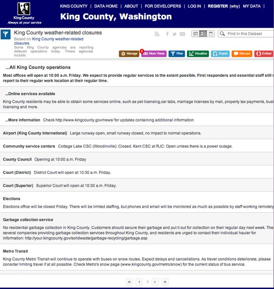 During inclement weather, we use the Socrata open data tool to keep our master list of what's open, closed, or changed. This lets our departments, the press (including neighborhood blogs) easily embed a real-time updated list on their Websites.