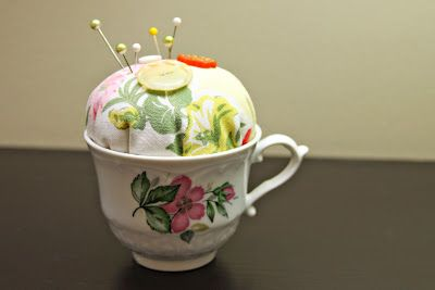 I have to make one of these tea cup pincushions! This would be such a great way to repurpose and use one of my grams vintage tea cups :)