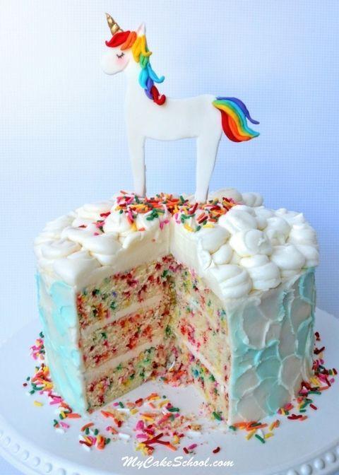 Unicorn Rainbow Buttercream Tiered Cake With Images Unicorn