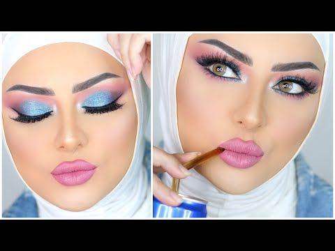 Baby Blue Makeup Tutorial Marwa Yehia مكياج رقيق لبني سماوي مع مروة يحيي Youtube Blue Makeup Egyptian Makeup Middle Eastern Makeup