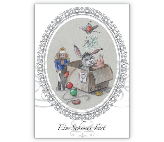 Fröhliche Weihnachtskarte - Esel und Schweinchen im Weihnachts Karton - http://www.1agrusskarten.de/shop/frohliche-weihnachtskarte-esel-und-schweinchen-im-weihnachts-karton/    00021_0_1842, 24.12., Esel, Festtage, Geschenke, Glückwünsche, Heiligabend, Humor, Tiere, Weihnachtskarten00021_0_1842, 24.12., Esel, Festtage, Geschenke, Glückwünsche, Heiligabend, Humor, Tiere, Weihnachtskarten