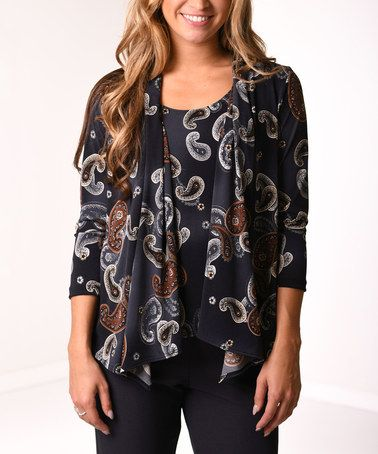 Love this Gray & Brown Paisley Layered Cardigan - Plus by Lbisse on #zulily! #zulilyfinds