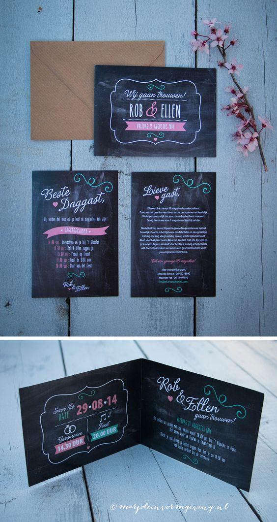 Ontwerp trouwkaart Rob & Ellen - Marjolein Vormgeving - krijtbord #trouwkaarten #trouwen #kaarten #ontwerp #krijtbord #trouwkaart #creatief