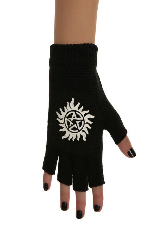 Supernatural Anti-Possession Symbol Fingerless Gloves   Hot Topic
