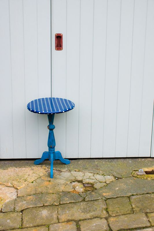 Polka dot oilcloth table