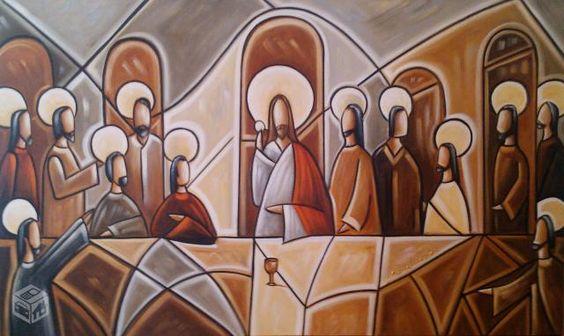 Santa ceia pintada a mão em tons neutros