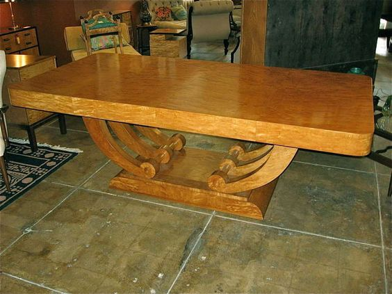 Large Art Deco Dining/Center Table in Highly Figured Golden Flame Birch | From a unique collection of antique and modern dining room tables at http://www.1stdibs.com/furniture/tables/dining-room-tables/