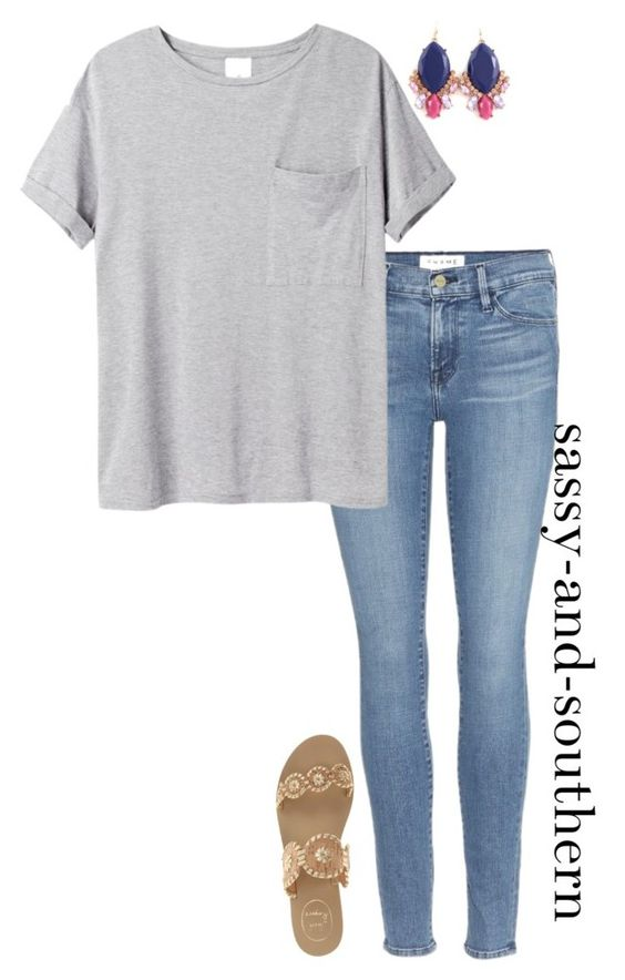 """cute school outfit"" by sassy-and-southern ❤ liked on Polyvore featuring Frame Denim, AR SRPLS and Jack Rogers:"
