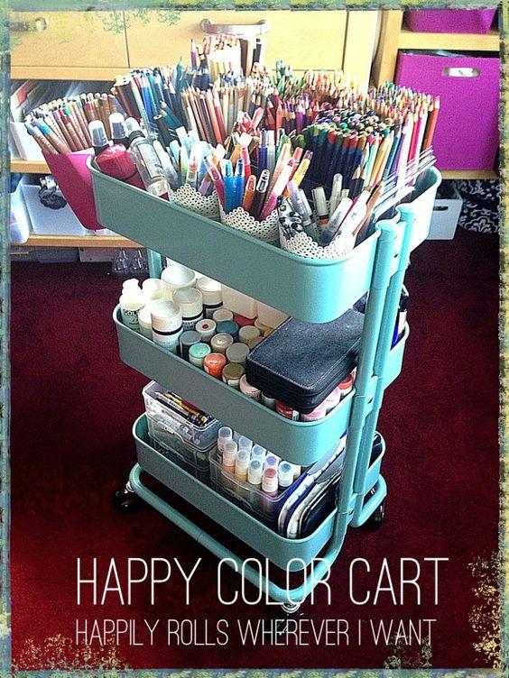 storage ideas for craft and paint supplies using an ikea raskog cart