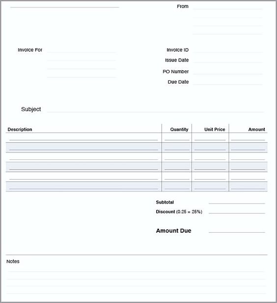 Blank Invoice Template Blankinvoice Org 2349090 - an image part of - Po Order Format