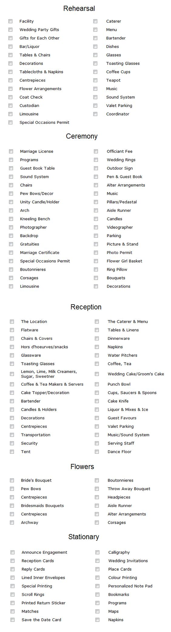 Simple Wedding checklist- because when you're planning a wedding ...
