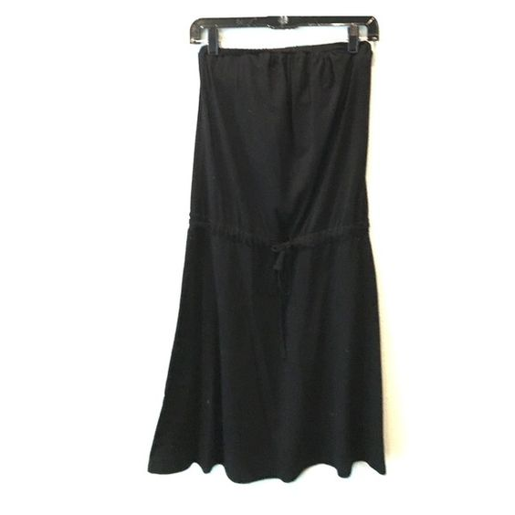 James Perse strapless dress Black strapless ties in middle. Worn like twice James Perse Dresses Midi