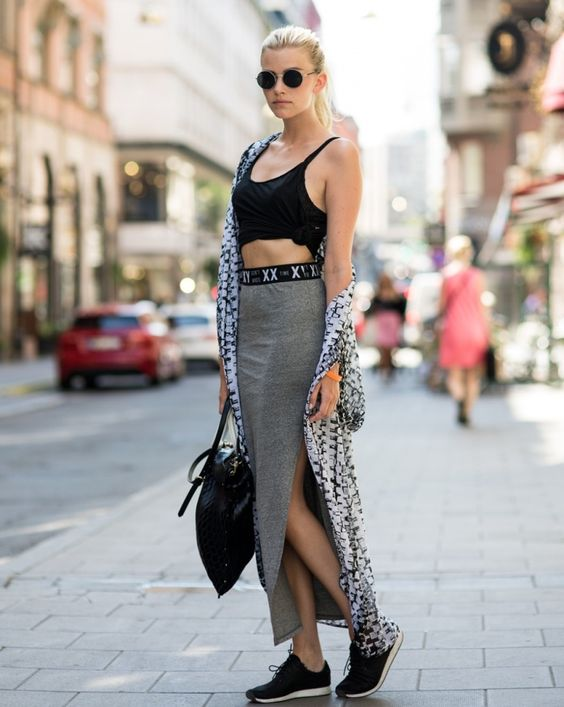cropped tank top with slit skirt and sneakers: