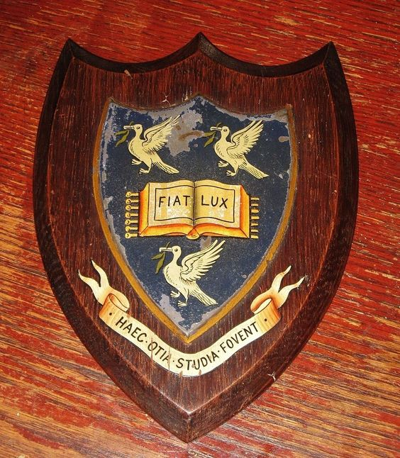 Antique Painted Oak Armorial Shield University of Liverpool c1900 Ravenscroft