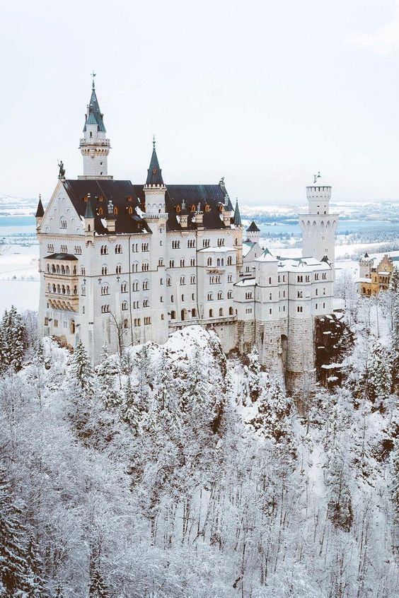 Neuswchanstein Castle // Germany. With the snow? Ugh, it's a fairytale come true.: