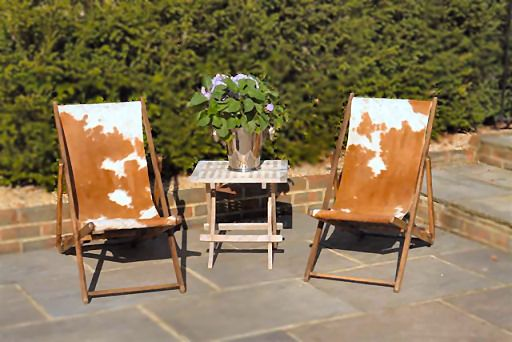 Cowhide covered deckchairs