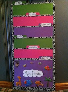Smart organizing tool! // I was planning on buying a hanging file organizer this month. So glad I found this great idea & made my own!  I used six file folders, tape, zebra duct tape, and stickers. I'm going to use this for the things that were always on my teacher table or bookcase last year.