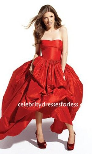 Anna Kendrick Red Strapless Celebrity Prom Dresses At Boston ...