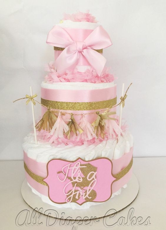 pink and gold baby shower diaper cake princess pink and gold