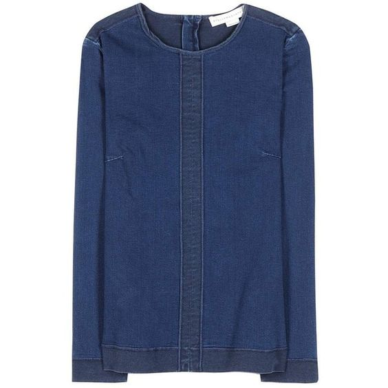 Stella McCartney Denim Top (3.740 ARS) ❤ liked on Polyvore featuring tops, blue, blue top, stella mccartney top, stella mccartney and denim top