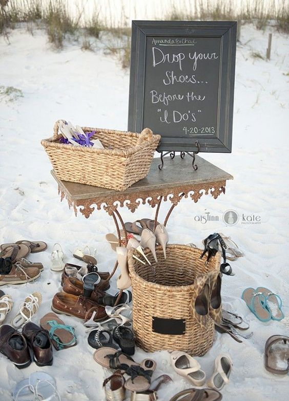 10 Ideas For Beach Weddings: #7. Shoe station. Excuse us for repeating ourselves, but sand and high heels just donâ??t mix. Set up a shoe station where guests can kick off their shoes and feel the sand between their toes.