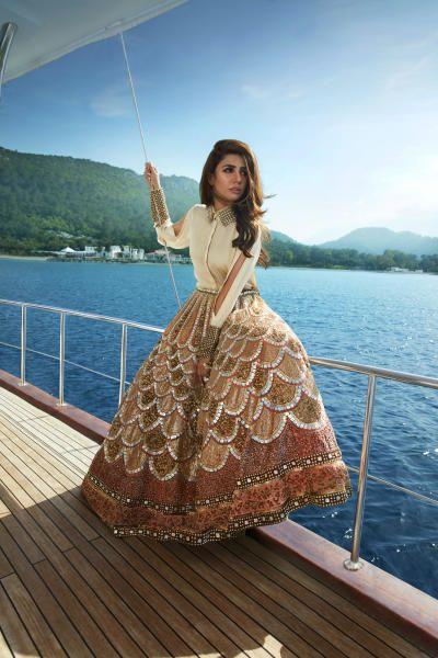 Bridal Lehenga - Beige and Copper Divani Lehenga   WedMeGood #wedmegood #indianbride #bridallehenga #lehenga #weddinglehenga #gold #copper