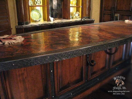 Copper counter tops copper countertop dragon forge for How to make a copper bar top