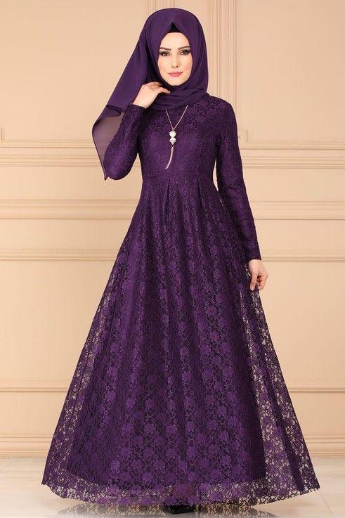 Modaselvim Elbise Kolyeli Dantel Elbise 5121ay342 Mor Dantel Elbise Elbiseler Elbise