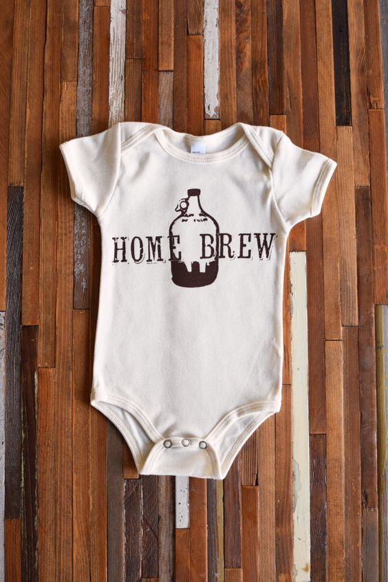 Home Brew. Organic Baby One Piece. Screen Printed by Oh, Little Rabbit. American Apparel Baby Onesie. Organic kids clothing. Hipster baby.