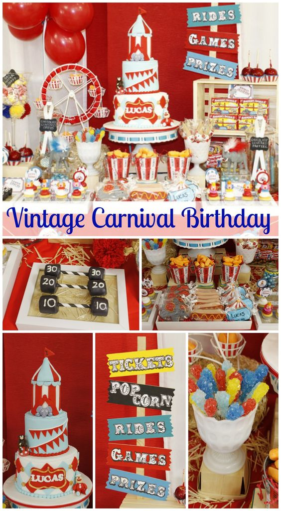 Vintage carnival birthday vintage carnival 1st birthday party birthdays birthday party - Carnival theme party for adults ...