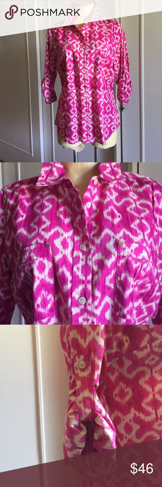 MICHAEL KORS TAILORED BLOUSE FRONT POCKETS Nice fitting,  LS with roll up button, 100% cotton, very soft and light weight.  Coloring is a hot pink and bone almost a magenta, very slightly worn MICHAEL Michael Kors Tops Button Down Shirts