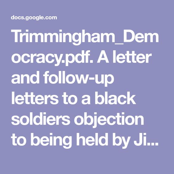 Trimmingham_Democracypdf A letter and follow-up letters to a - Follow Up Letters