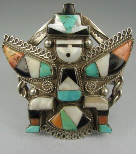 Vntg-Hvy-Wide-Zuni-Mosaic-Inlay-Knifewing-Bracelet