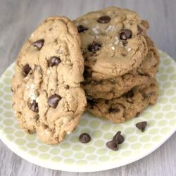 Alton Brown's Chewy chocolate chip cookies do not disappoint in flavor and size!
