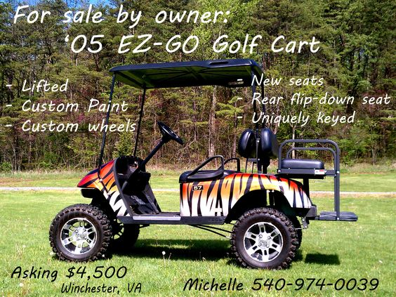 "2005 EZ GO Custom Electric Golf Cart - Custom Tiger Stripe w/ metallic flake paint! Black upholstery, Kenda Terra Trac 23 tires, 12"" Black SS Wheels, Lift Kit, Black Top, Headlight Bar Kit, Unique Key Switch, Black Rear Seat (folds down flat) 540-974-0039."
