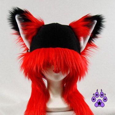 Red FOX kitsune cat Puffet Hat warm fleece ear flap by pawstar, $42.00