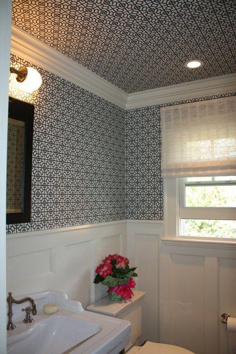 wainscoting & wallpaper inside Pinterest Powder