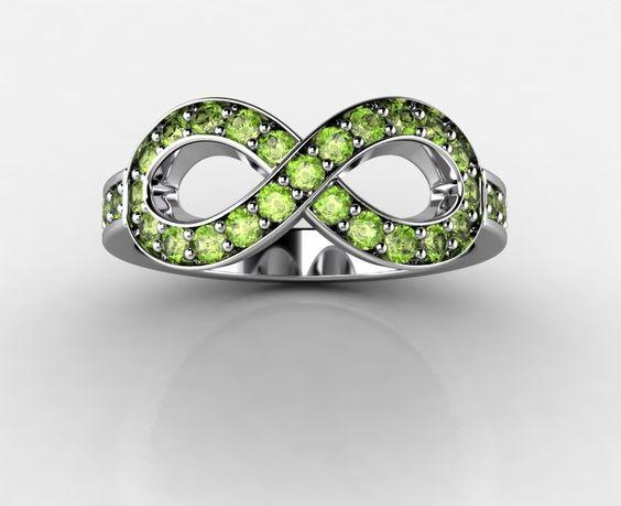 Patria Gems - Peridot Infinity Ring, $699 (http://www.patriagems.com/products/peridot-infinity-ring.html)